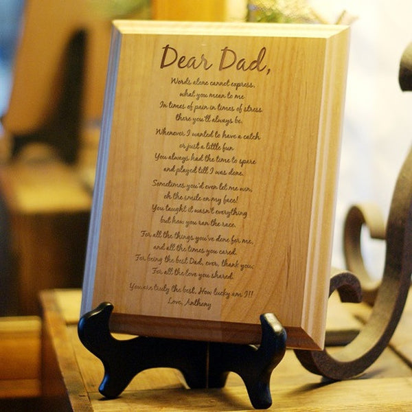 Personalized To My Dad Keepsake Wood Plaque