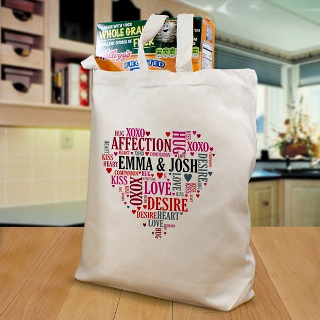 Personalized Couples Heart Design Tote Bag
