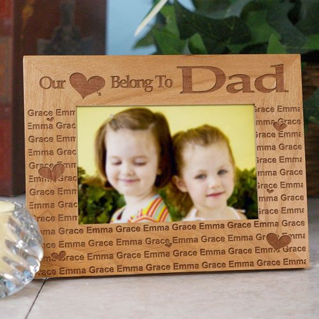Personalized Our Hearts Belong To Dad Wooden Frame