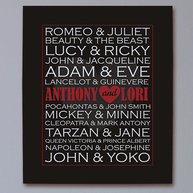 Personalized Wall Canvas Famous Couples Print