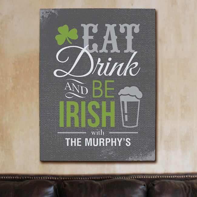 Personalized Irish Pub Wall Canvas