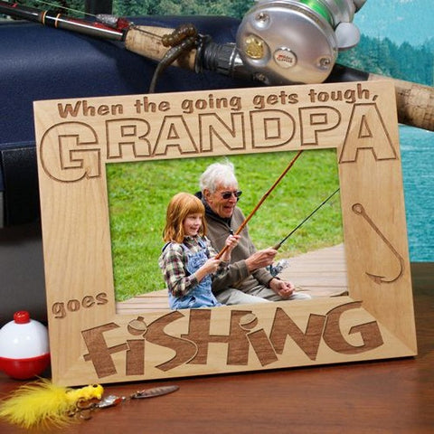 Personalized Grandpa Goes Fishing Wooden Frame