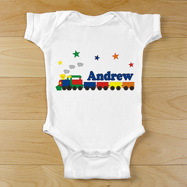 Personalized All Aboard Baby Train Onesie