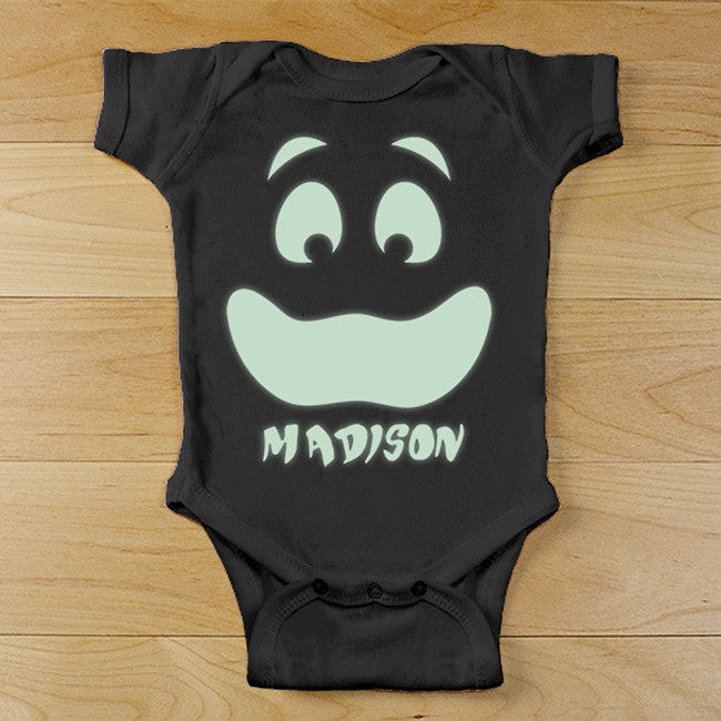 Personalized Happy Glow Face Black Onesie