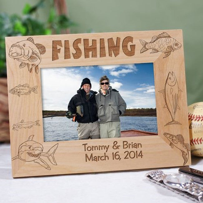 Personalized Engraved Fishing Wooden Picture Frame