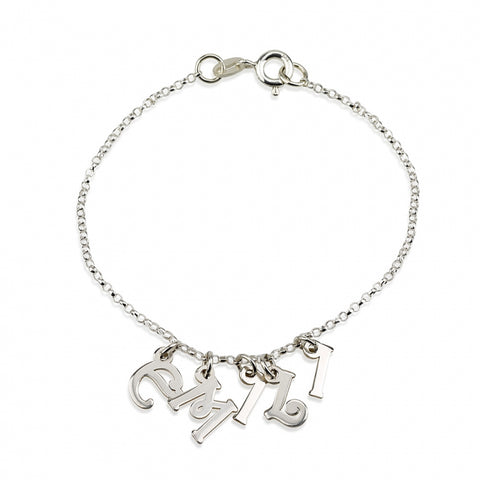 Personalized Sterling Silver Bracelet with Letter Charms