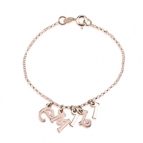 Personalized Rose Gold Plated Bracelet with Letter Charms