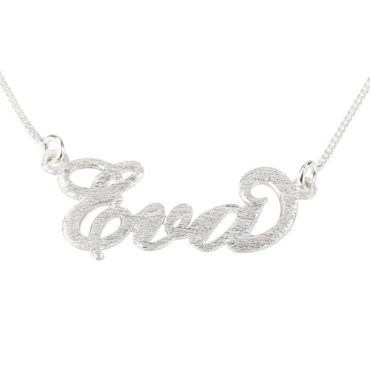 Personalized Brushed Sterling Silver Carrie Name Necklace