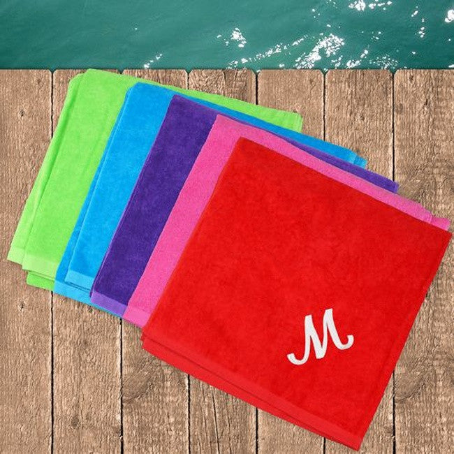 Personalized Embroidered Beach Towel In 5 Colors