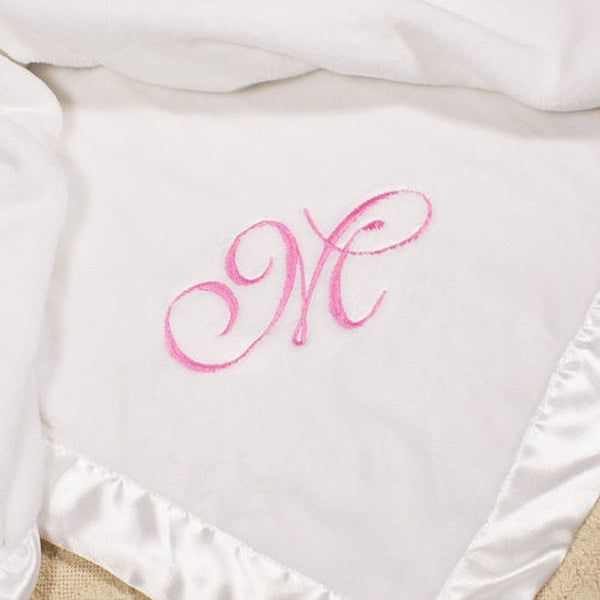Personalized Embroidered White Baby Blanket