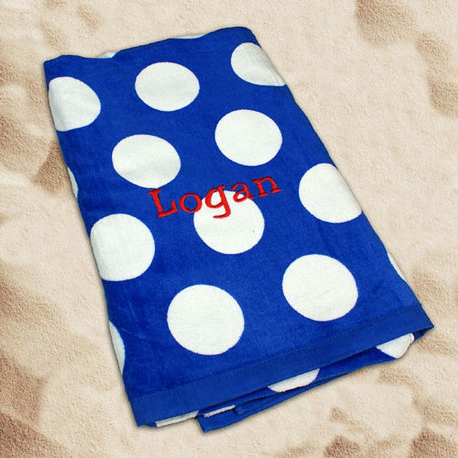 Personalized Embroidered Beach Towel With A Royal Blue Polka Dots Design
