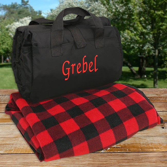 Personalized Embroidered Blanket Tote