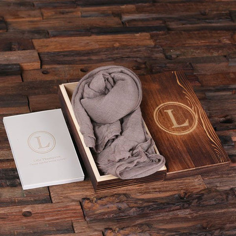 Putty Shawl & Personalized Journal, Diary with Wood Box Gift Set