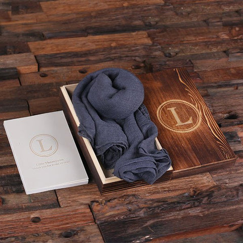 Slate Shawl & Personalized Journal, Diary with Wood Box Gift Set