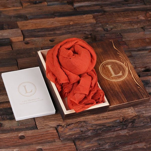 Orange Shawl & Personalized Journal, Diary with Wood Box Gift Set