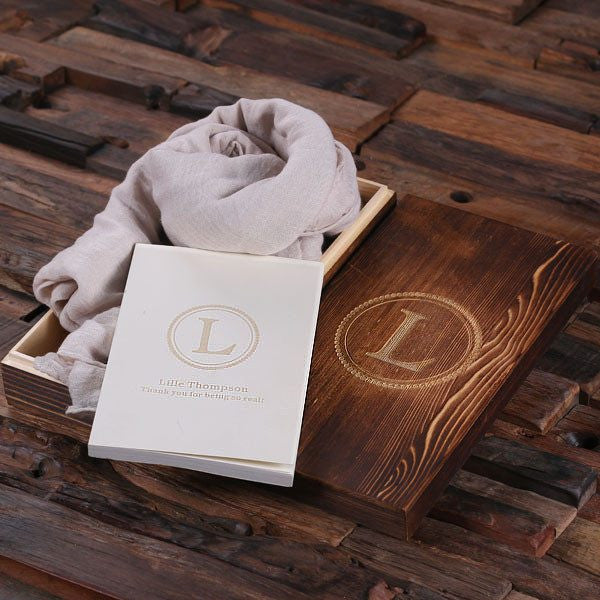 Pebble Shawl & Personalized Journal, Diary with Wood Box Gift Set
