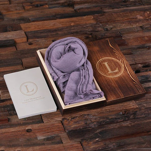 Lavender Shawl & Personalized Journal, Diary with Wood Box Gift Set