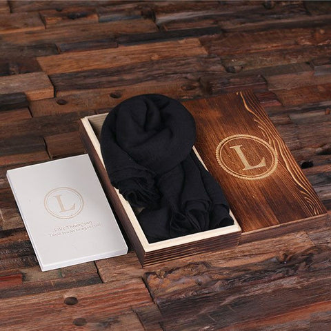 Black Shawl & Personalized Journal, Diary with Wood Box Gift Set