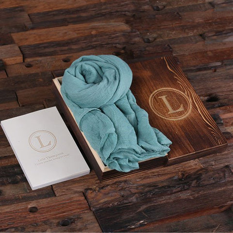 Aqua Shawl & Personalized Journal, Diary with Wood Box Gift Set