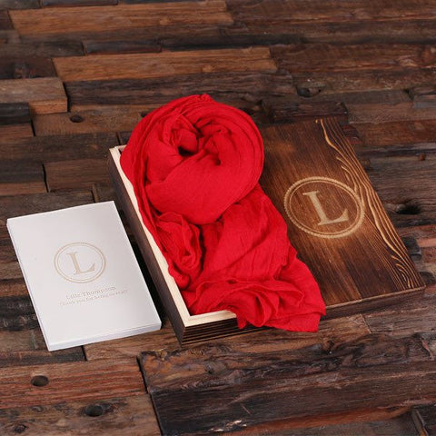 Red Shawl & Personalized Journal, Diary with Wood Box Gift Set