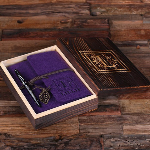 Personalized Felt Journal, Pen and Wood Box – Deep Purple