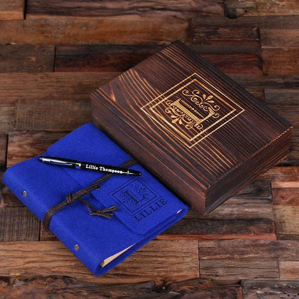 Personalized Felt Journal, Pen and Wood Box – Blue