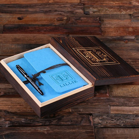 Personalized Felt Journal, Pen and Wood Box – Electric Turquoise