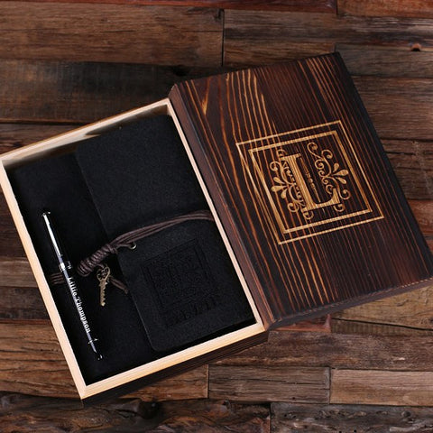 Personalized Felt Journal, Pen and Wood Box – Black