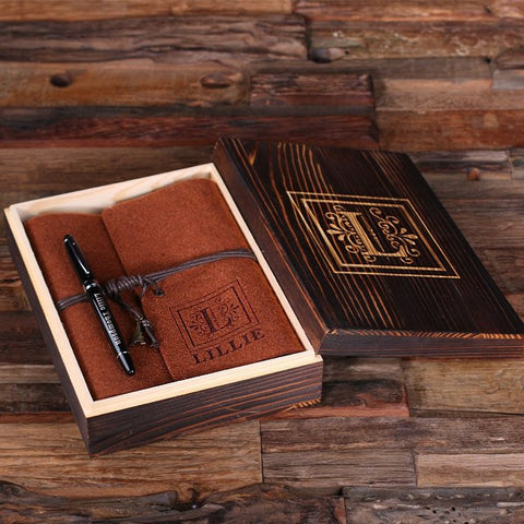 Personalized Felt Journal, Pen and Wood Box – Brown
