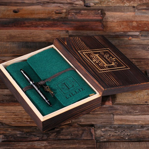 Personalized Felt Journal, Pen and Wood Box – Hunter Green
