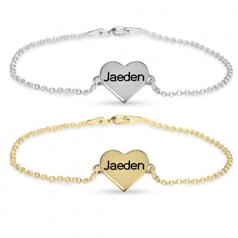 Personalized Engraved Heart Bracelet