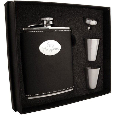 Eclipse Leather Stainless Steel 6oz Hip Flask Gift Set - Personalized
