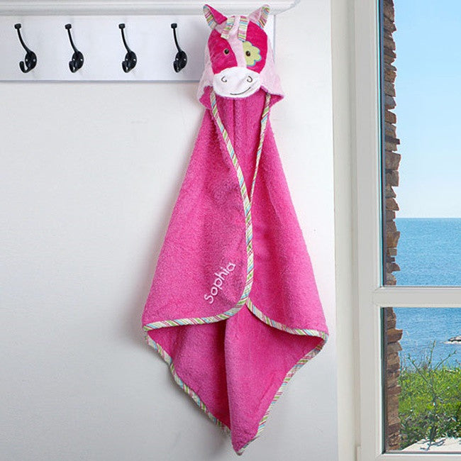 Personalized Embroidered Pink Pony Hooded Towel
