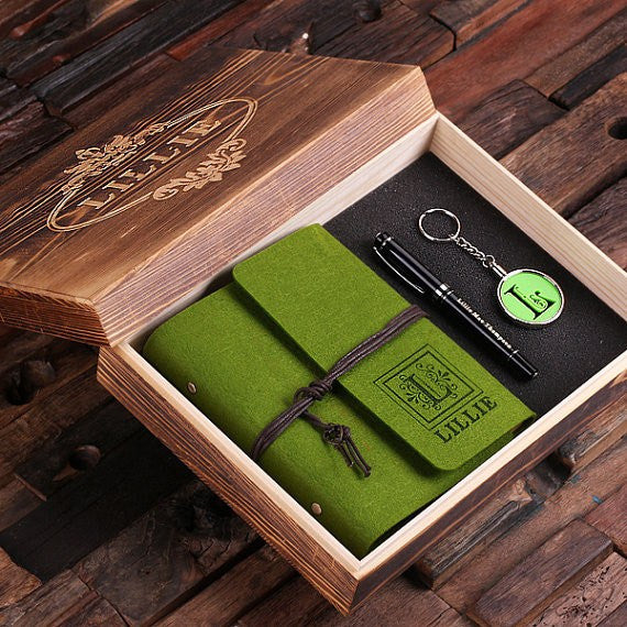 Personalized 4 pc Women's Gift Set w/Keepsake Box w/ Journal, Key Chain, Pen Available in 12 Colors