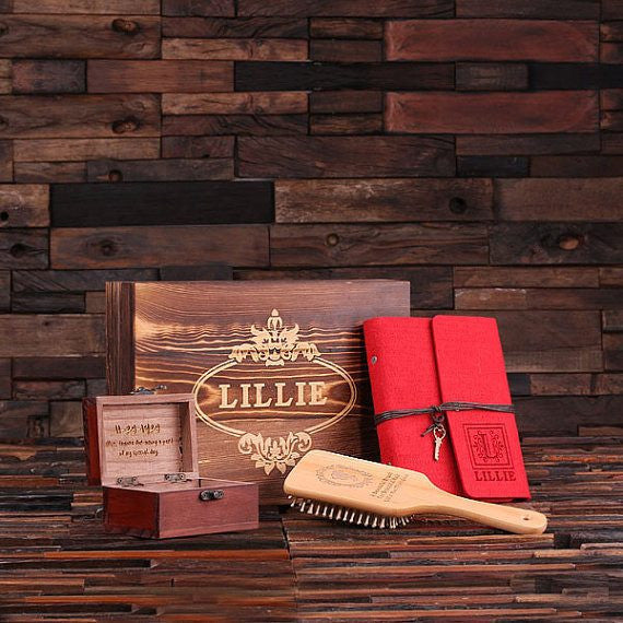 Personalized Gift Set for Her w/Keepsake Box – Paddle Brush, Journal, Treasure Box
