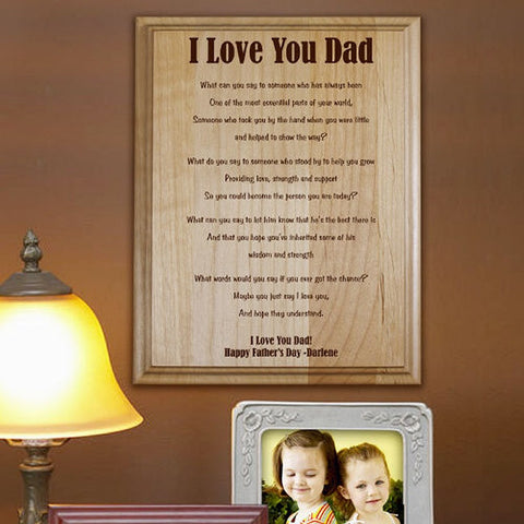 Personalized I Love You Dad Father's Day Wood Plaque
