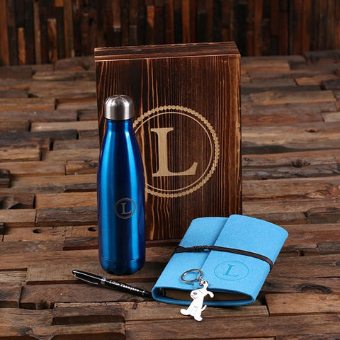 5pc Women's Gift Set Personalized Monogramed Felt Journal, Water Bottle, Pen, Key Chain and Wood Box - Blue