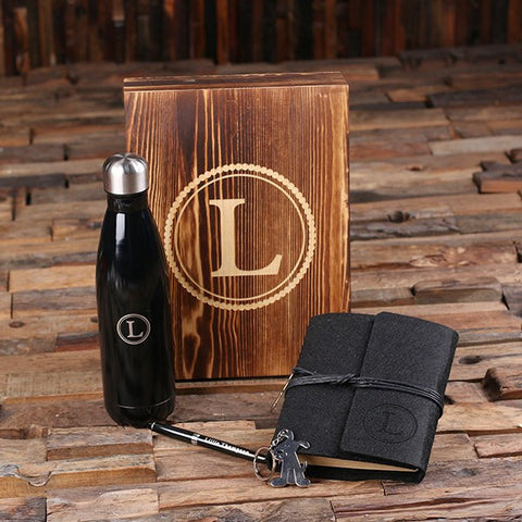 5pc Women's Gift Set Personalized Monogramed Felt Journal, Water Bottle, Pen, Key Chain and Wood Box - Black