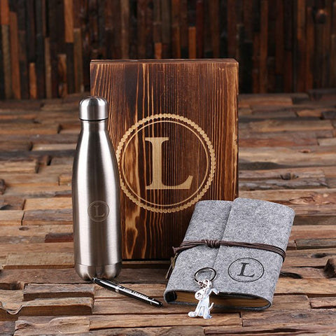 5pc Women's Gift Set Personalized Monogramed Felt Journal, Water Bottle, Pen, Key Chain and Wood Box - Grey