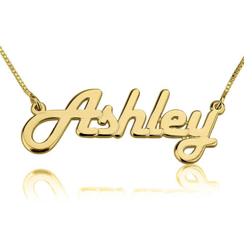Personalized 24K Gold Plated Italic Name Necklace