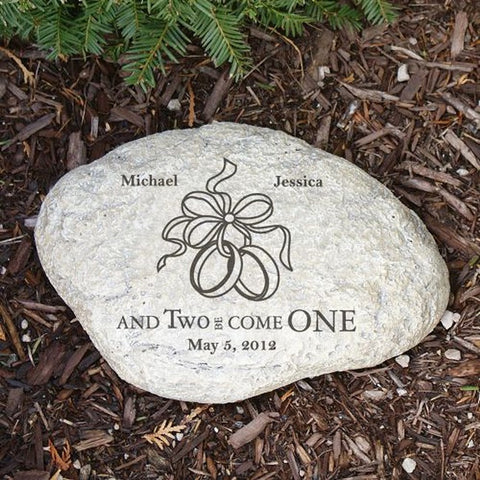 Personalized Engraved Two Became One Wedding Garden Stone
