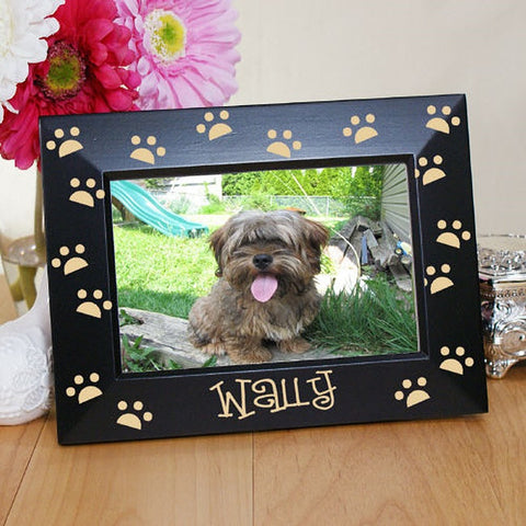 Personalized Engraved Paw Prints Black Frame