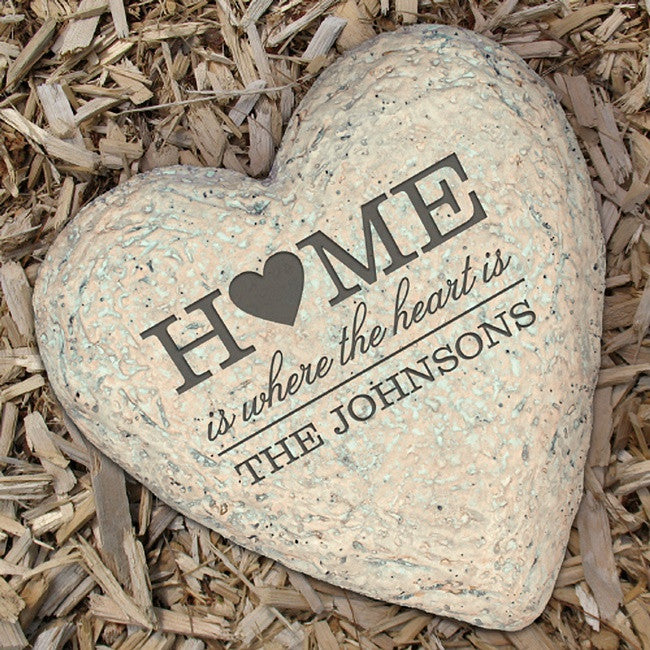 Personalized Engraved Family Heart Garden Stone