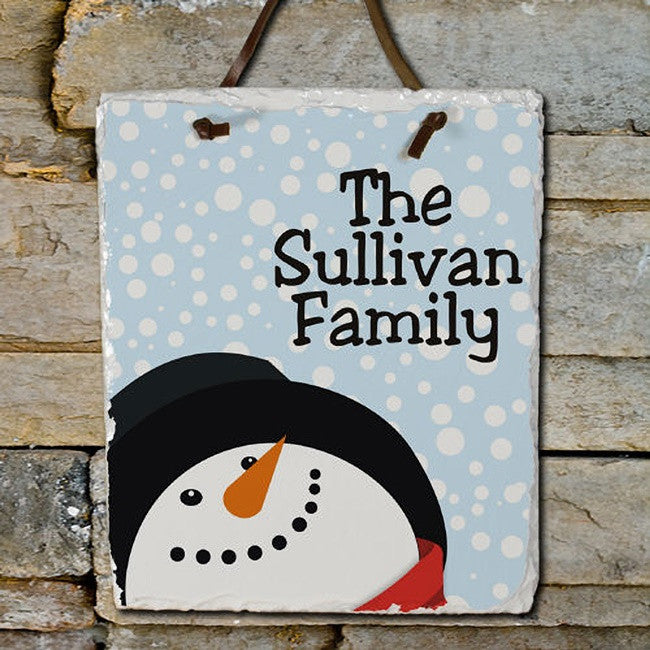 Personalized Snowman Plaque with Family Name