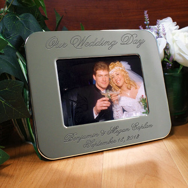 Personalized Engraved Wedding Day Silver Picture Frame