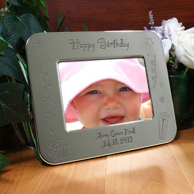 Personalized Engraved Happy Birthday Silver Picture Frame