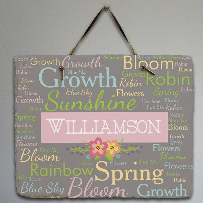 Personalized Spring Words Slate Plaque