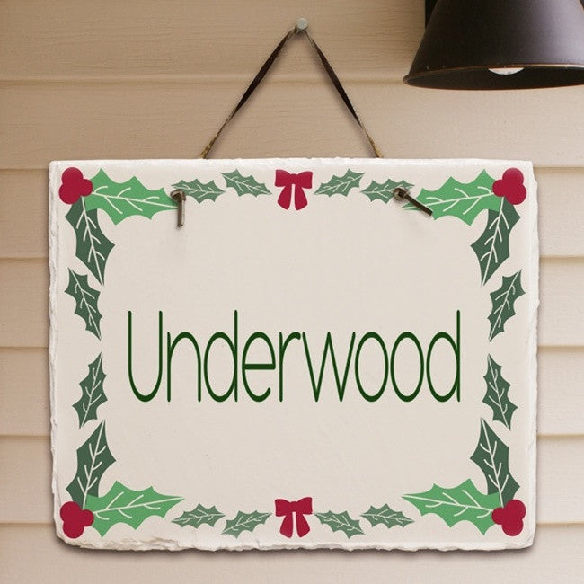Personalized Holly Leaves & Berries Slate Plaque
