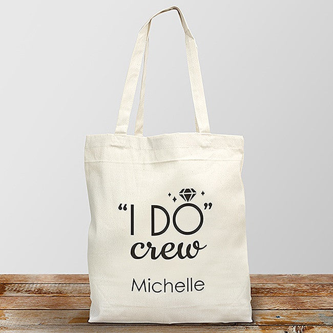 "Personalized ""I Do Crew"" Design Canvas Tote"