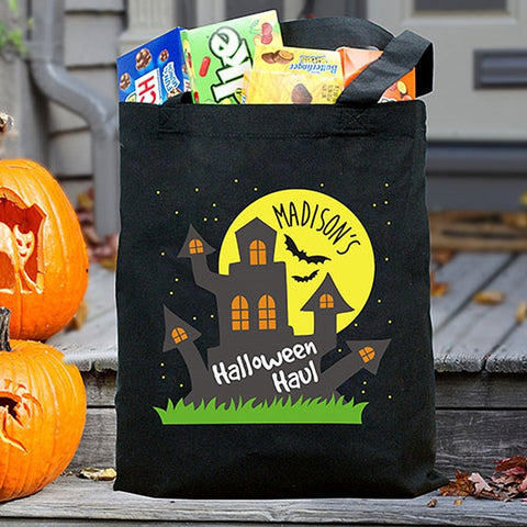 Personalized Black Halloween Haul Tote Bag
